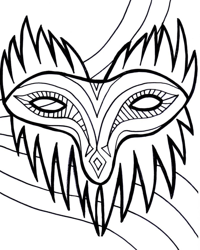 It is an image of Critical Mardi Gras Coloring Pages Free Printable