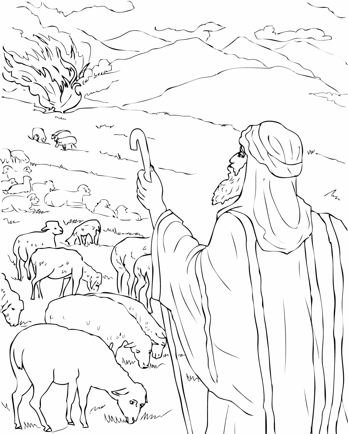 Moses Bible Coloring Pages Burning Bush Page