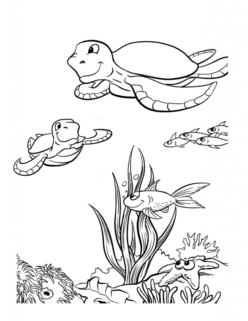 Free printable sea turtle coloring pages for kids for Disegni marini per bambini