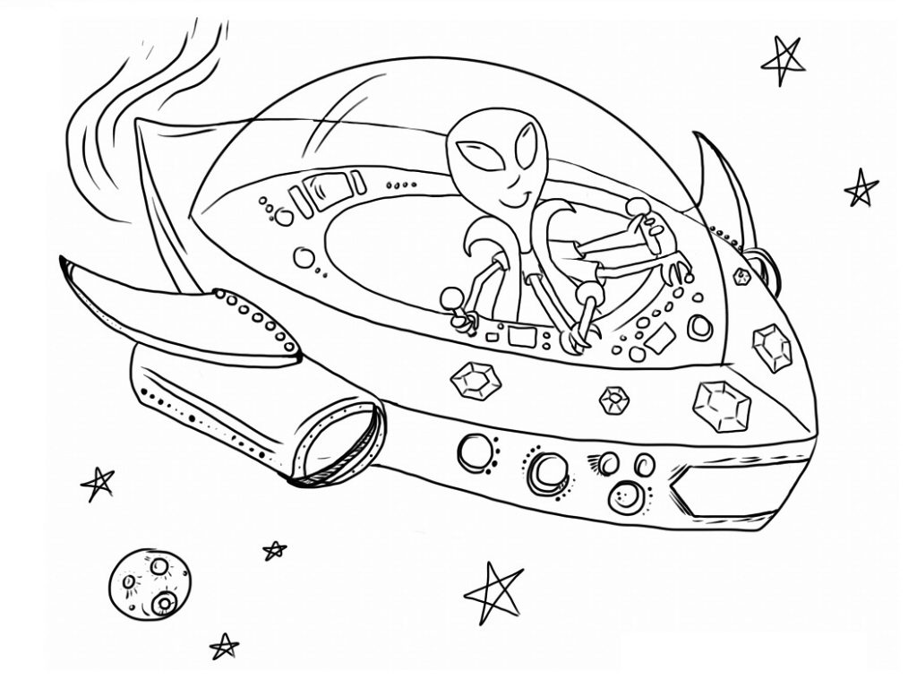 Space Alien Coloring Pages