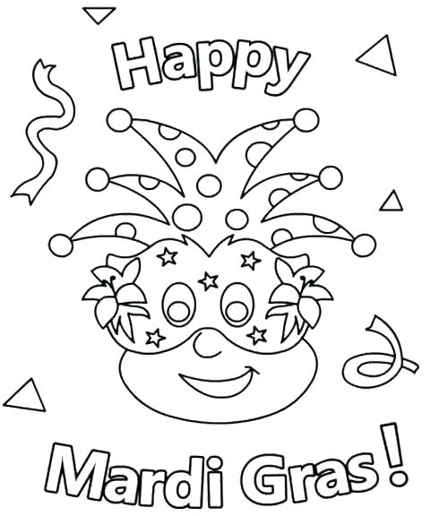 Happy Mardi Gras to Print and Color