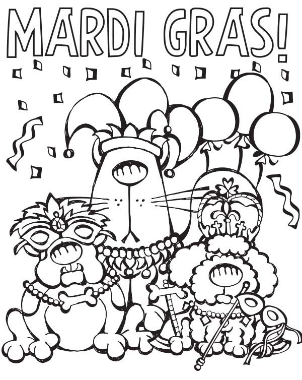 Jester Mardi Gras Animals Coloring Pages