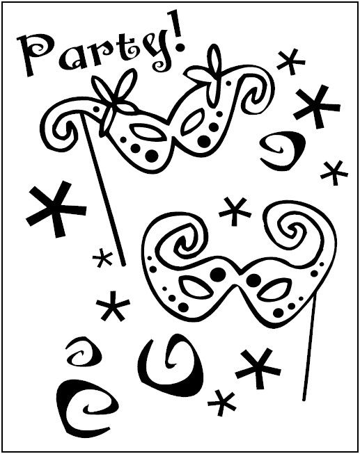 Mardi Gras Party Coloring Pages