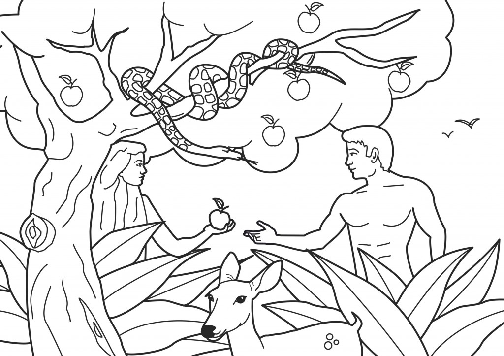 Adam and Eve Coloring Pages Printable