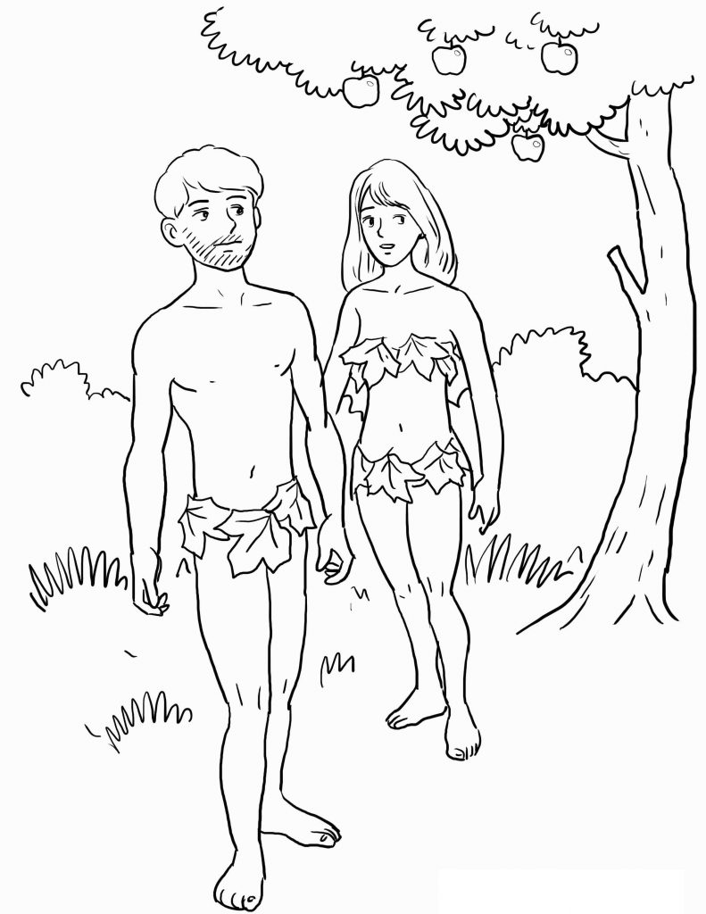 Adam and Eve Coloring Pages for Kids