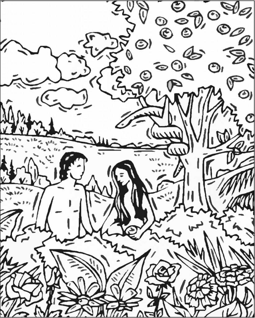 Adam and Eve Coloring Pages to Print