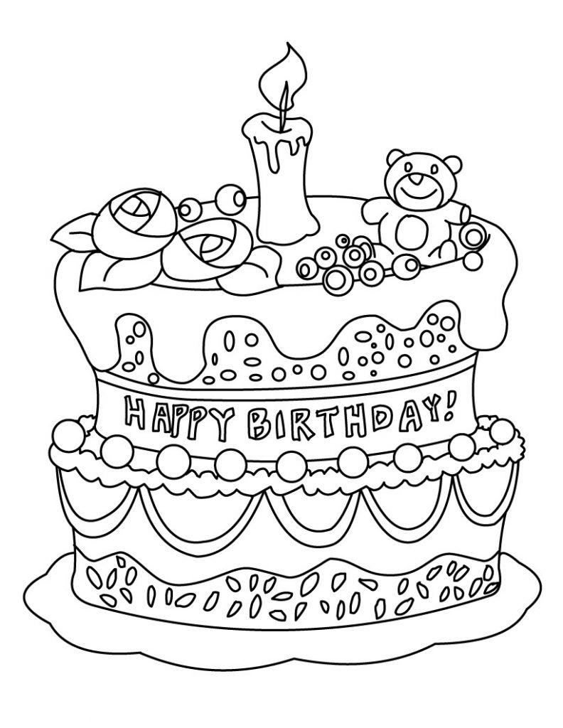 Birthday Cake Coloring Pages for Kids