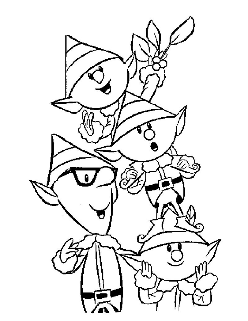 Free printable elf coloring pages for kids for Coloring pages for kids christmas