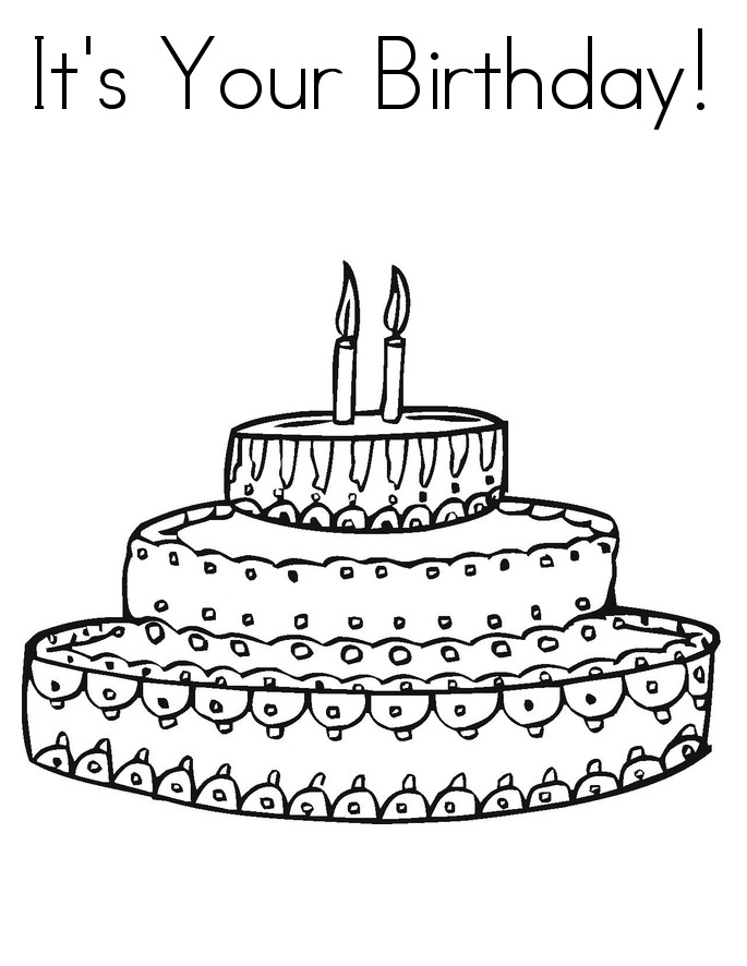 Coloring Pages Birthday Cake