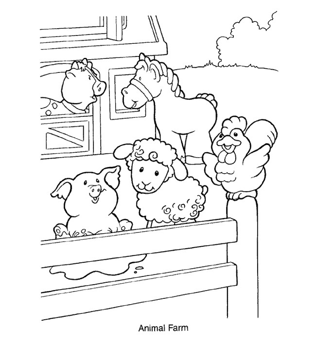 Farm Animal Coloring Pages on cartoon animals theme