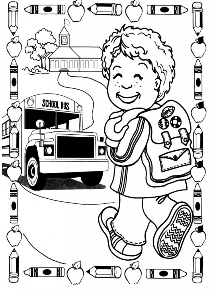 First Day of Kindergarten Coloring Page