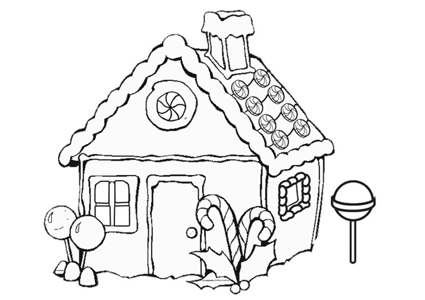 Free Coloring Page Gingerbread House