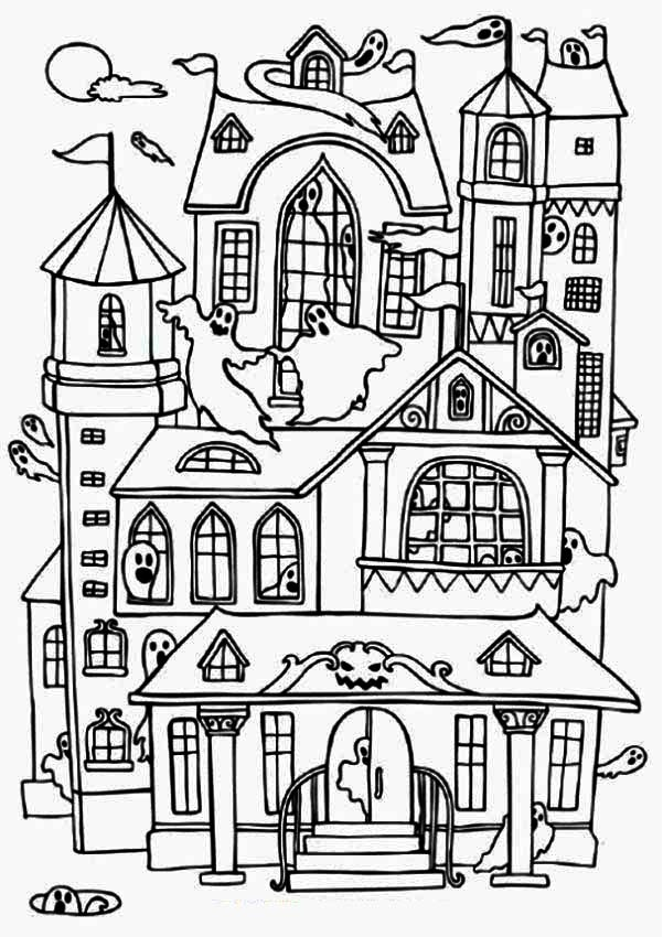 Free Haunted House Coloring Pages