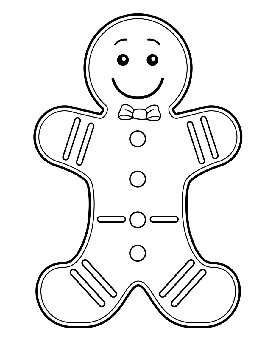 Free printable gingerbread man coloring pages for kids for Christmas coloring pages preschool