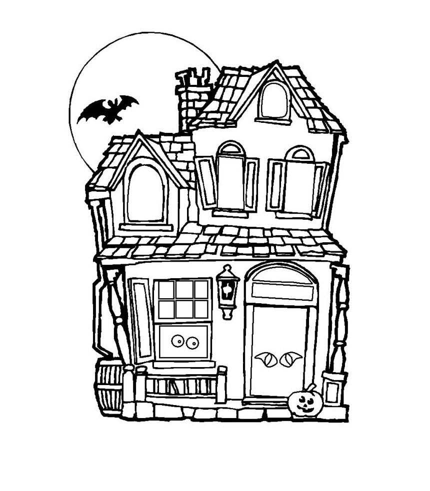 Free Coloring Pages Haunted House
