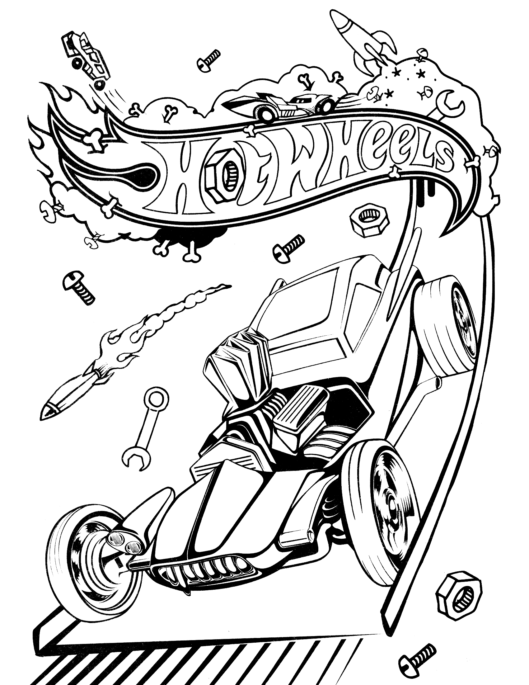 Ausmalbild Wheels: Hot Wheels Coloring Pages