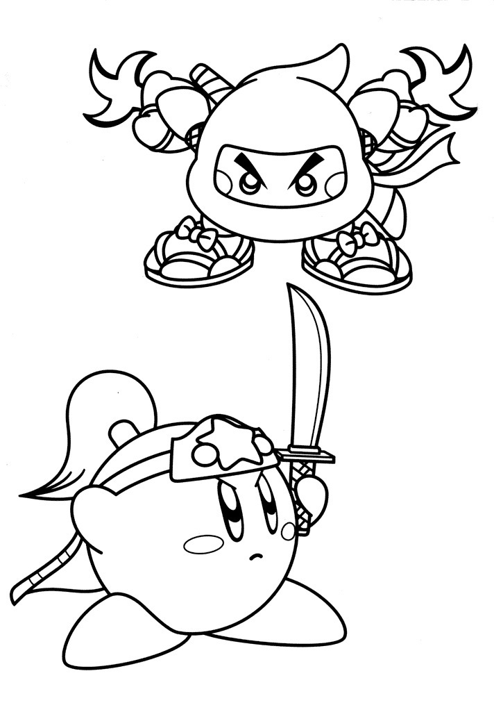 Ninja Kirby Coloring Pages