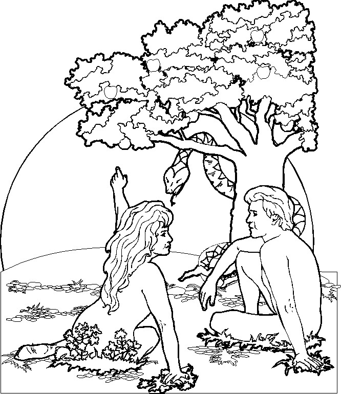 Printable Adam and Eve Coloring Pages