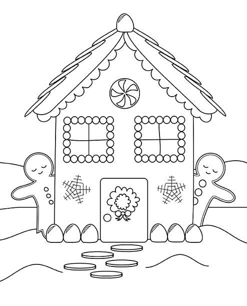 Printable Gingerbread House Coloring Page