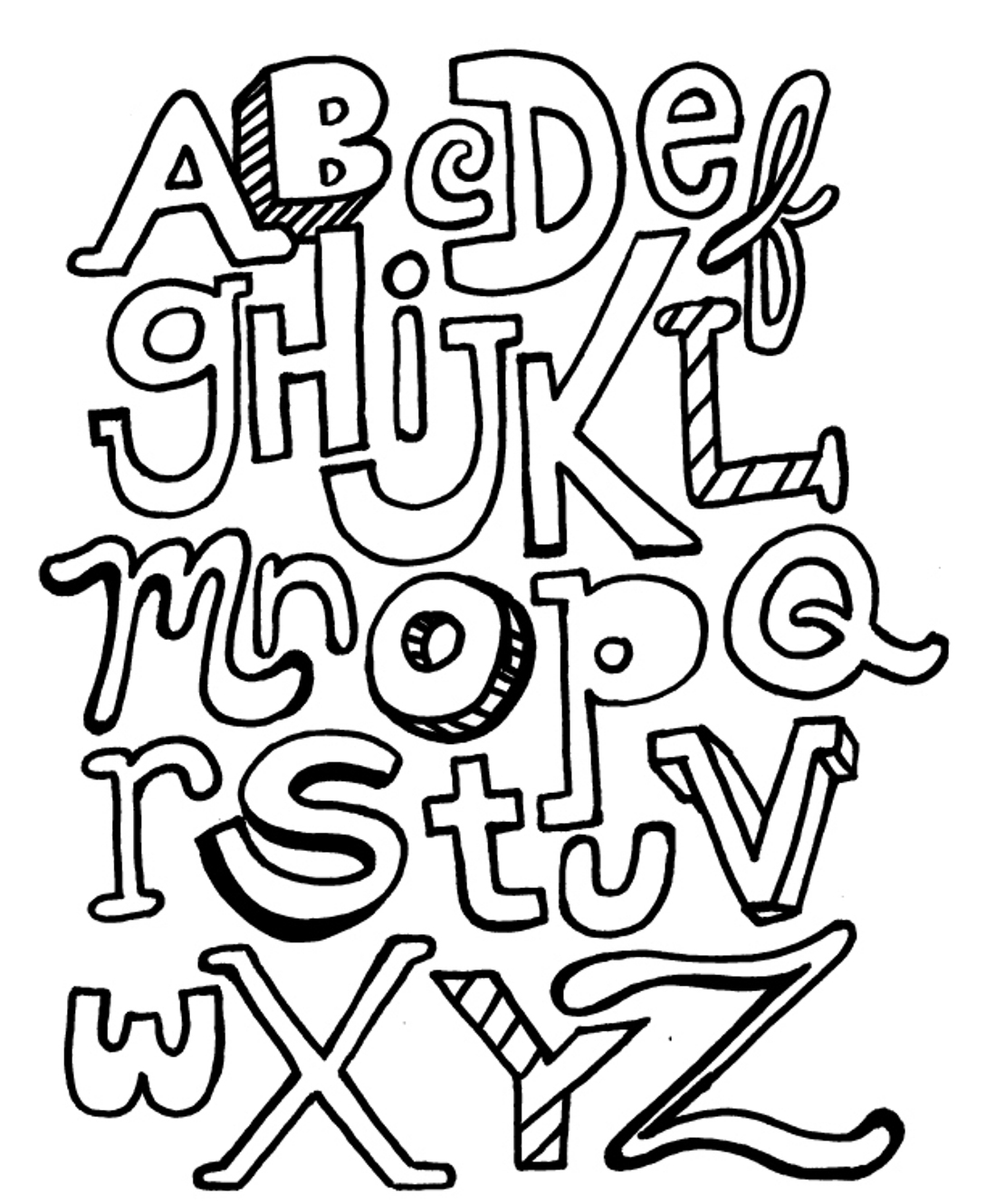 Free printable abc coloring pages for kids for Alphabet pages to color