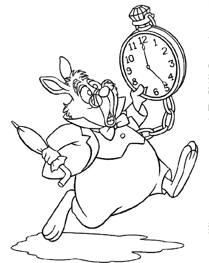 Alice in Wonderland White Rabbit Coloring Pages