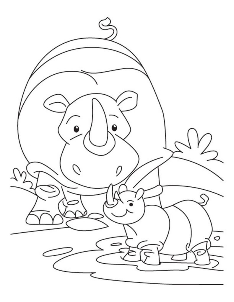 Baby Rhinoceros Coloring Pages