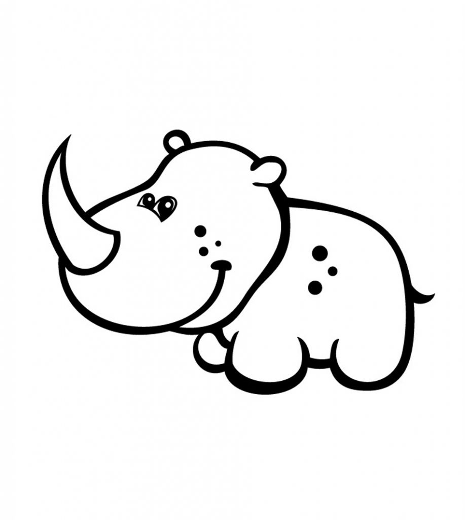 Cartoon Rhinoceros Coloring Pages