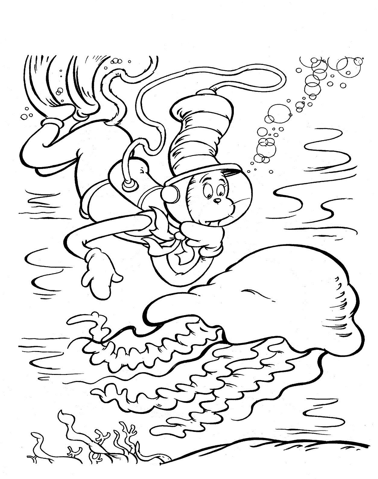 Free Printable Cat in the Hat Coloring