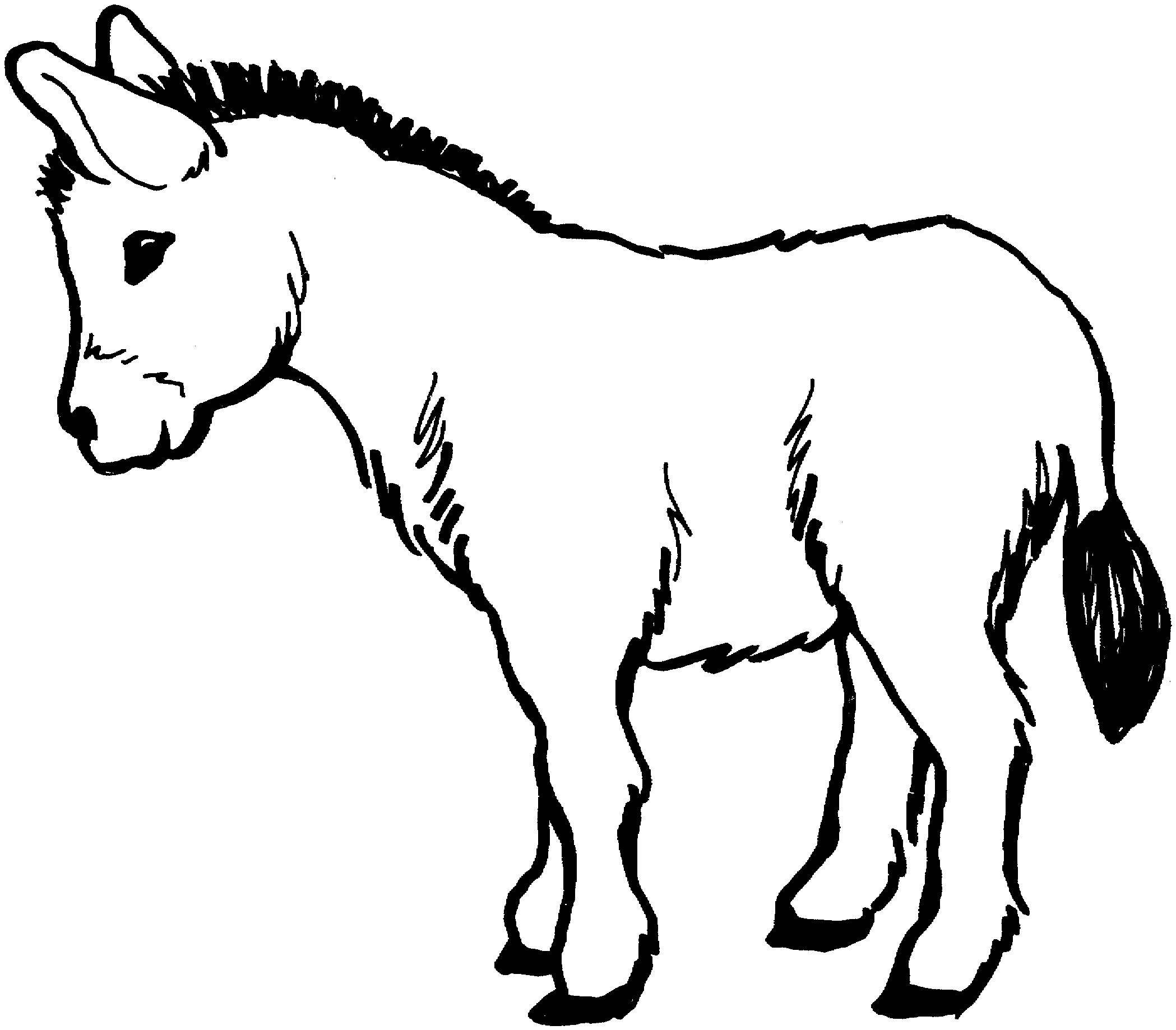 Line Drawing Donkey : Free printable donkey coloring pages for kids