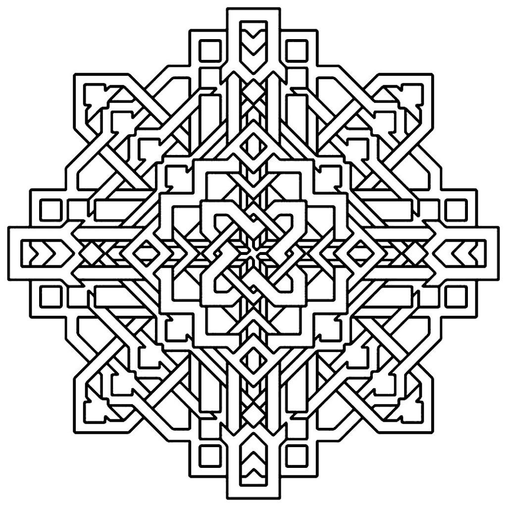 easy geometric design coloring pages - photo#23