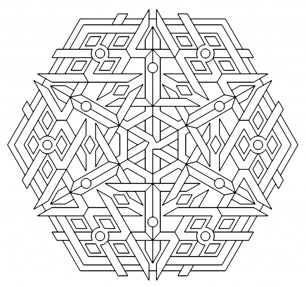 easy geometric design coloring pages - photo#21