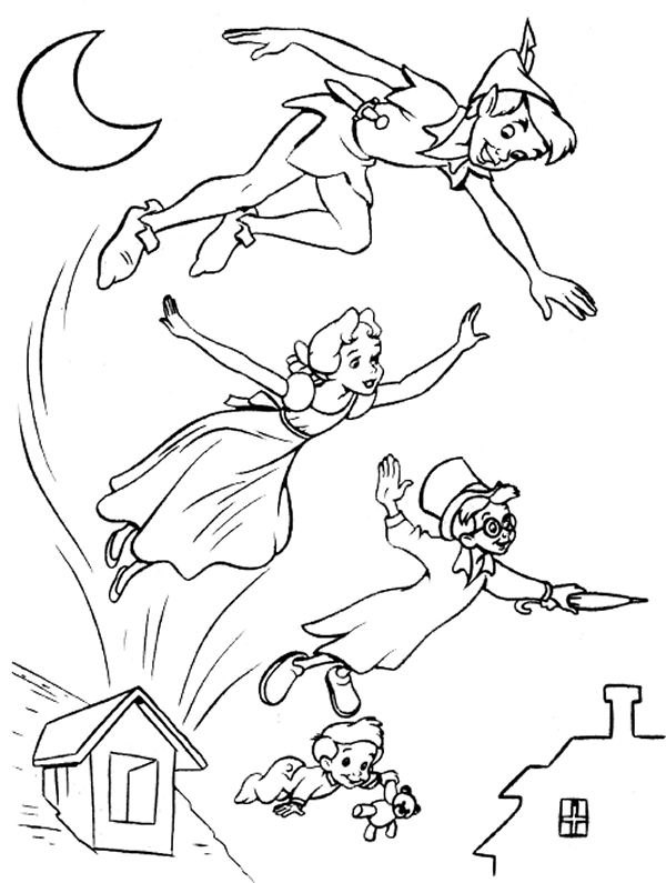 Free printable peter pan coloring pages for kids for Immagini peter pan da colorare