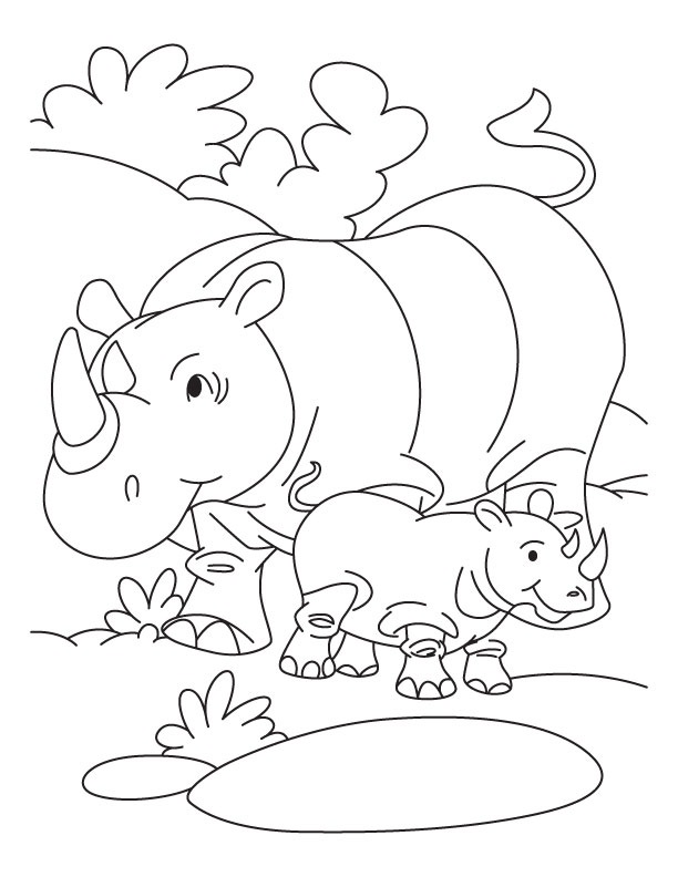 Printable Rhinoceros Coloring Pages