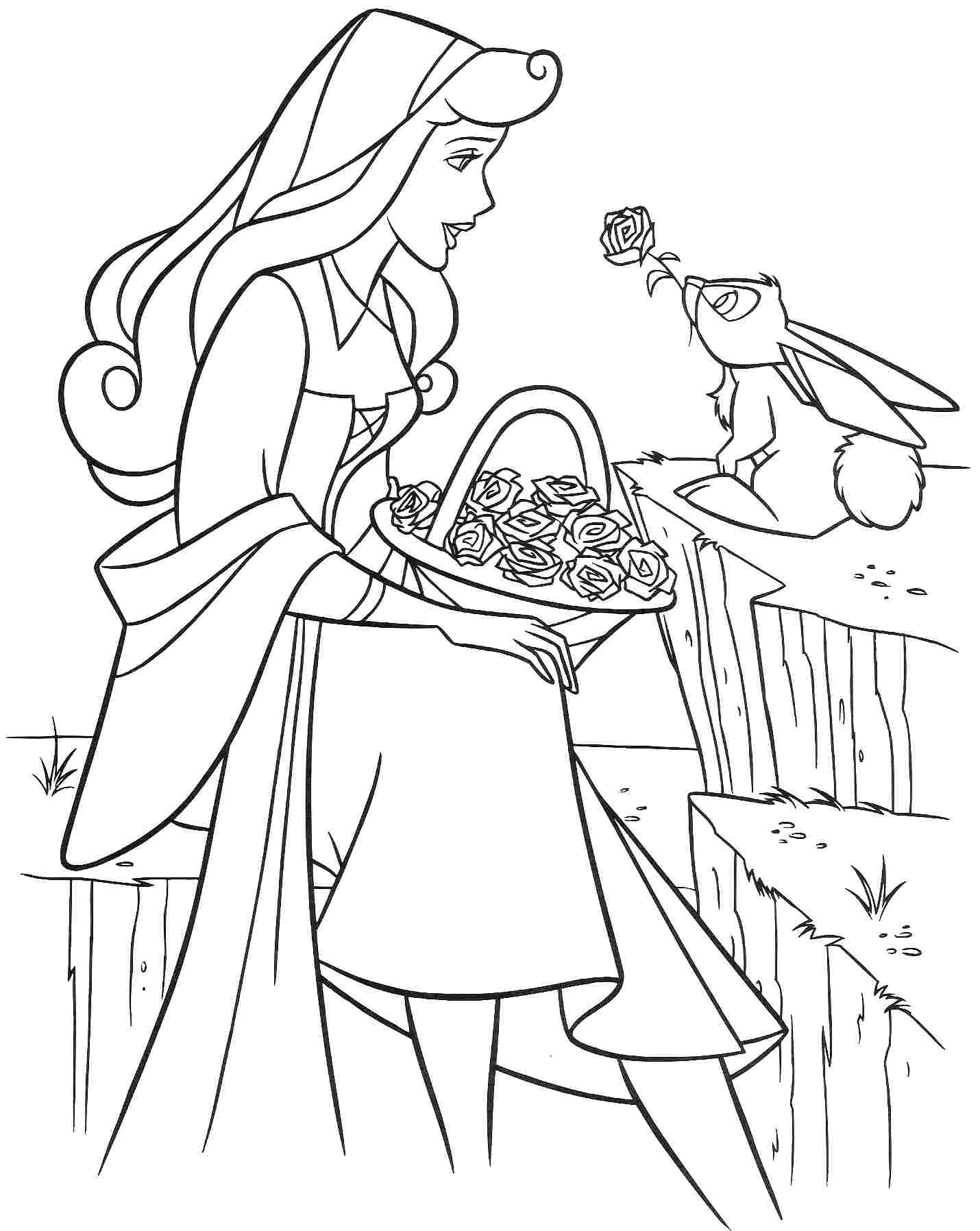 Free printable sleeping beauty coloring pages for kids for Sleeping coloring pages