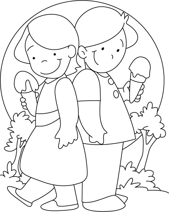 Friends Ice Cream Coloring Pages