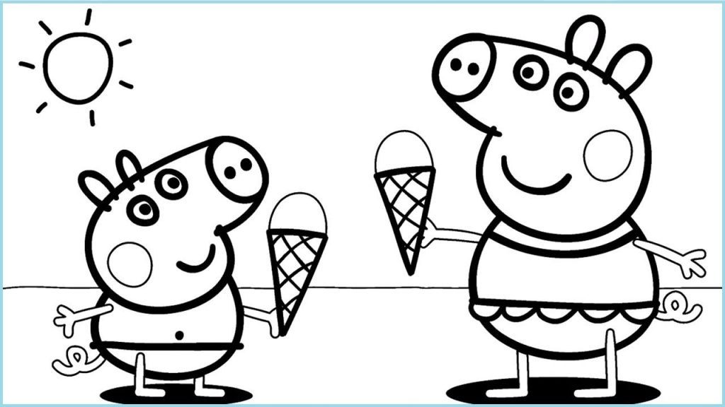 Peppa Ice Cream Coloring Pages