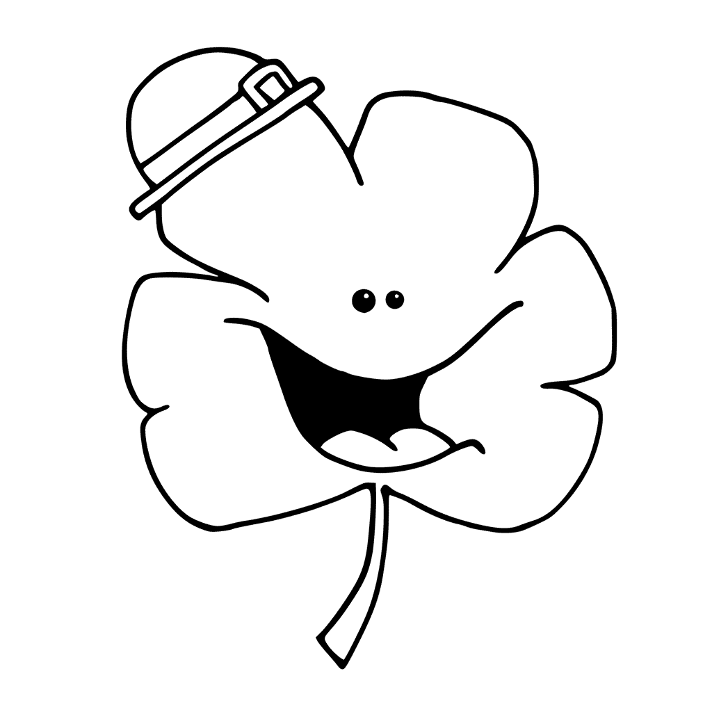 Cute Happy Shamrock Coloring Pages