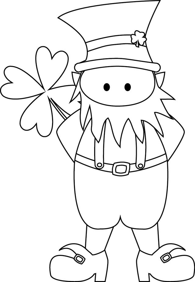 Cute Leprechaun And Shamrock Coloring Page