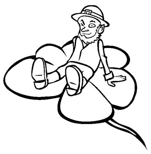 Leprechaun on Shamrock Coloring Page