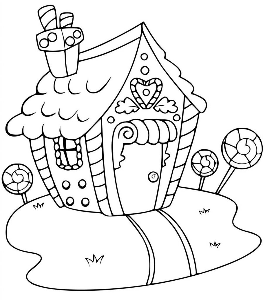 Candy Gingerbread House Coloring Page