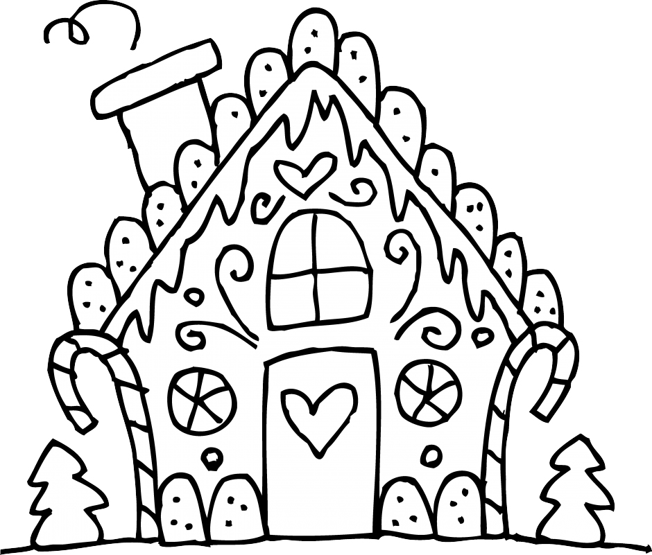 Cute Gingerbread House Coloring Page