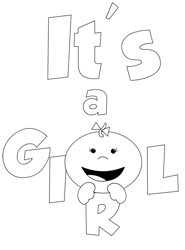 Its a Baby Girl Coloring Page