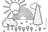 Nature Coloring Pages Rainbow Scene