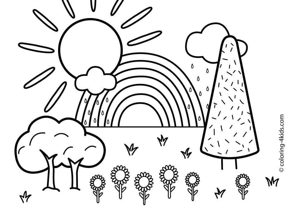 Free printable nature coloring pages for kids best for Summer pictures for kids to colour