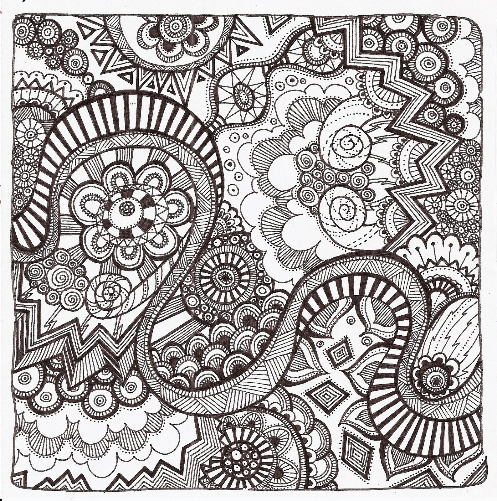 picture relating to Printable Zentangle Patterns identify Cost-free Printable Zentangle Coloring Web pages for Grown ups