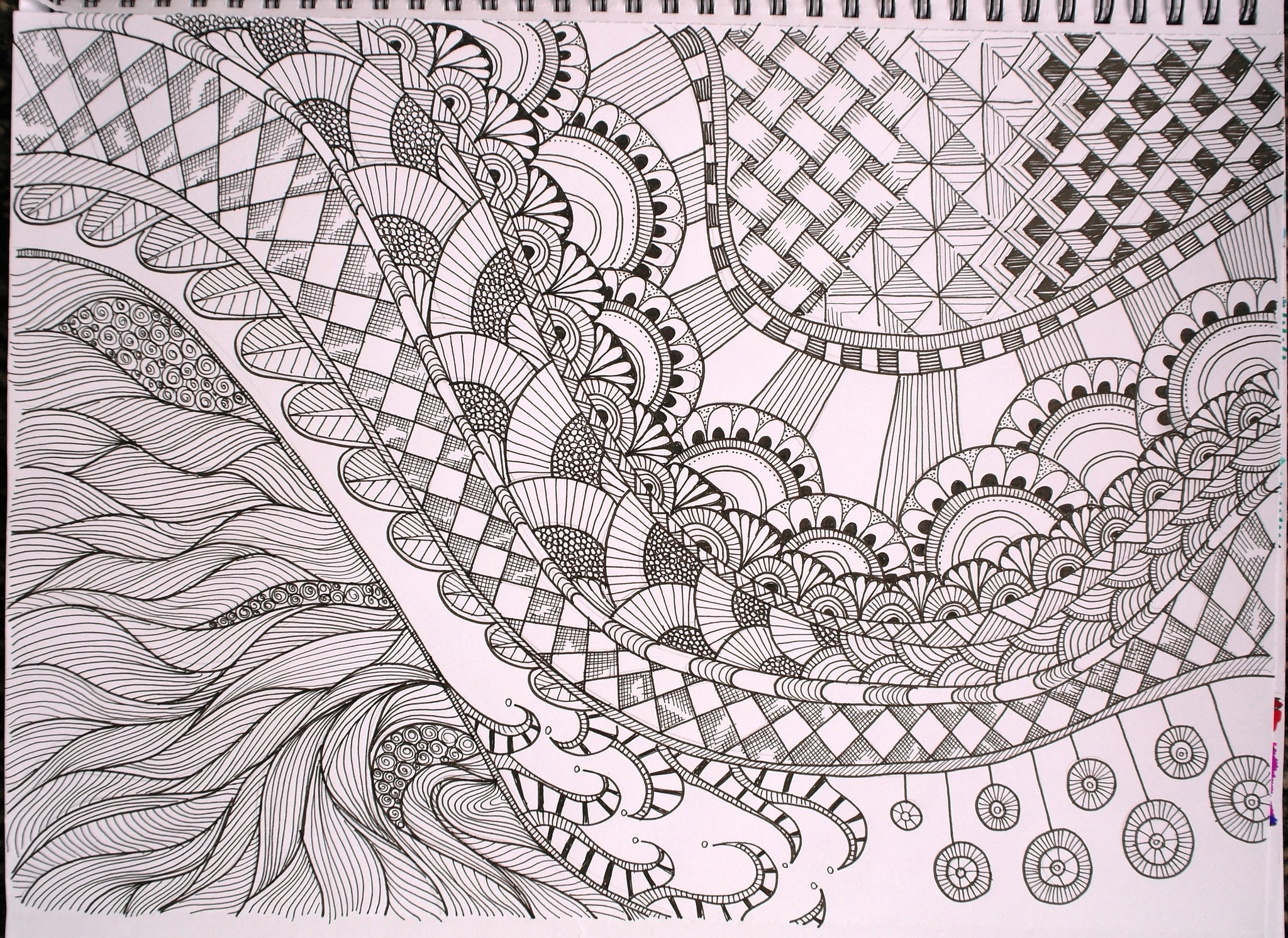 Bright image in free printable zentangles