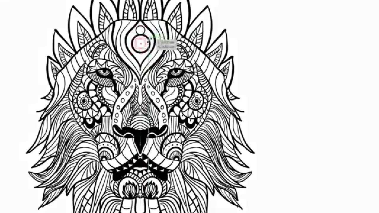 Free printable zentangle coloring pages for adults for Lion mandala coloring pages
