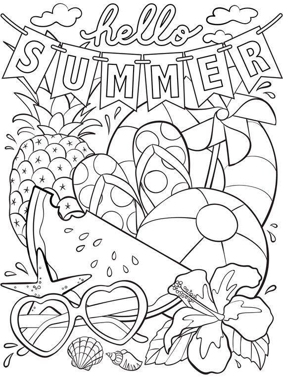 Summer Coloring Pages for Kids. Print them All for Free.