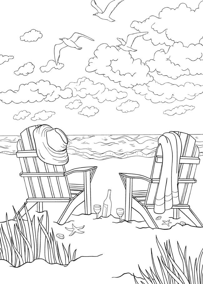Quiet Beach in Summer Coloring Page