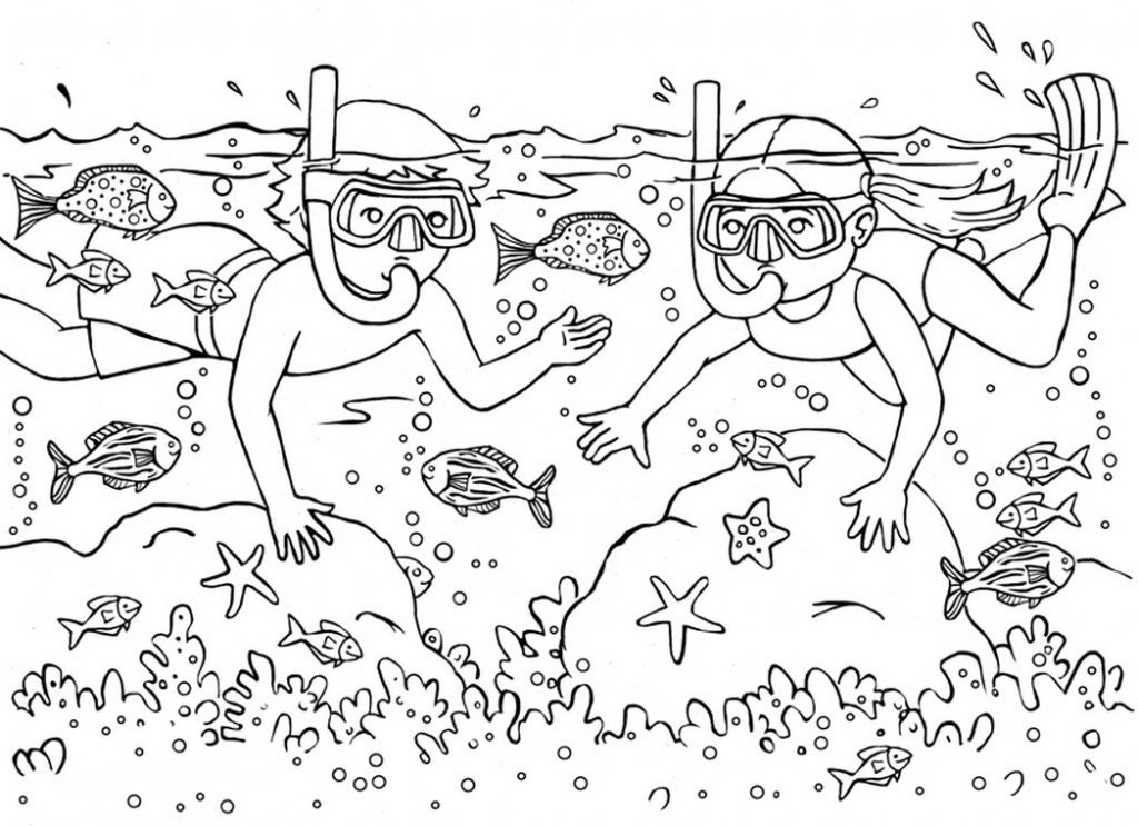 Scuba Diving Coloring Page